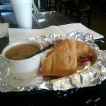 Cuban sandwich with bean soup