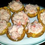 Patacones (Kochbananen) gefüllt mit Schrimps