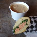 Clam chowder and salmon sandwich