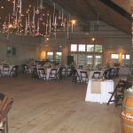Inside the barn set up for wedding