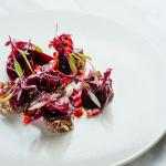 Beetroot, goats curd, pomegranate