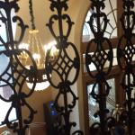 View of the lobby chandelier from the 2nd floor via beautiful railing