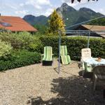 Sunny terrace garden mountain views
