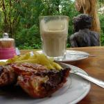 grilled chicken leg and latte