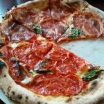 Half coppa, half sausage pizza