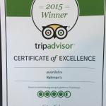 2015 Winner CERTIFICATE of EXCELLENCE.