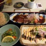 Tataki and roll combo for lunch. The spicy salmon roll was wonderful!  Great little place for lu