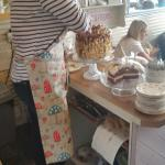 Odette had to stand on a chair to cut this ridiculously huge cake!!
