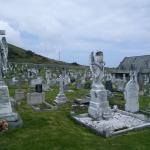 Winged gravestones in St Tudno's graveyard