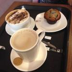 lovely latte, cappuccino and blueberry muffin