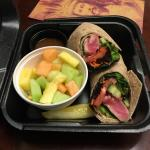 Seared Tuna Wrap with sesame dressing on the side and fruit. Yummy!!