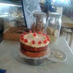 Homemade cakes,  made on the premises.