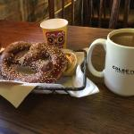Cool space and delicious coffee and Bavarian pretzel