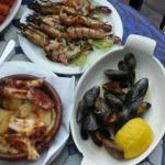 Octopus, Prawns and Mussels.