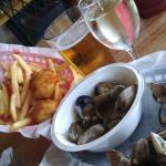 scallop fish and chips and steamed clams
