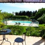 Terrace overlooking pool and garden