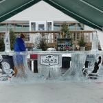 Carved Ice Bar in the winter on the lake