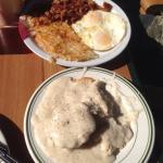 corn beef hash, eggs, biscuits and gravy