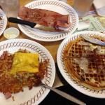 """""""Strawberry"""" waffles, hash browns covered & chopped & country ham."""