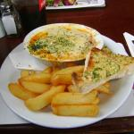 My partners meal 2 ( Beef lasagne with chips and garlic bread £9.95)
