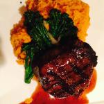 Grilled Black Angus Filet Mignon with yam puree and broccolini