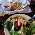 Small Greek salad and small hummus