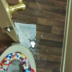 Bathroom floor flooded