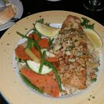 the Trout over rice with veggies