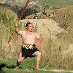 Maori warrior demonstrating taiaha