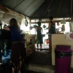 communal screened-in kitchen