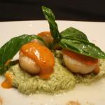 Scallops on Green Tea noodles with red curry sauce
