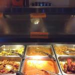 Cabbage stir fry, chicken curry, vegetable pakoras, chicken tandoori & tikka masala,