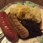German Sausage, red cabbage and Mash