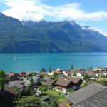 view out of the room at lake brienz