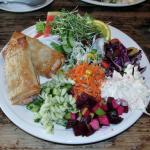 Cheese phyllo with various salads dish