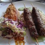 Beef Kefta, sweet potato and cabbage salad.
