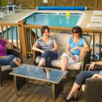 Pool side--perfect to catch up with friends.