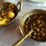 Cauliflower and potatoes; Chana Masala