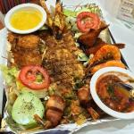 Mexican seafood combo: grilled sole fish and five different kinds of shrimp