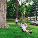 Never too old for a good swing. In the backyard of Brick Inn.
