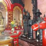 The left side of the temple (as facing the temple) with its interesting statues (perhaps those o