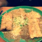 green plate. Chimichanga,burrito,beans,rice, and salad. My plate had carna asanda chile Reonna,c