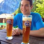 Beer in Gimmelwald tastes great after a day of hiking