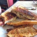 Grilled cheese with bacon. And oven baked potatoes. Very tasty.