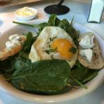 Spinach , eggs and shallot vin salad ������������ followed by the Grilled Salmon was fantastic