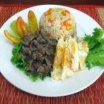 beef lok lak egg and fried rice