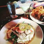 Grilled mahi mahi with shrimp scampi. Amazing !