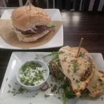 Falafel in pitta and sweet potato burger