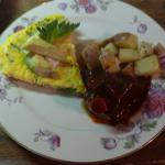 Endlessly changing main course example:  Asparagus-Ham Omelet with Braised Short ribs & potatoes