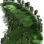 Hole 9, Par 4: A tough par-4 by any measure. From the blue tees the hole doglegs to the left